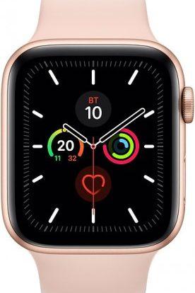 Часы Apple Watch Series 5 44мм золотого цвета+спортивный ремешок розовый