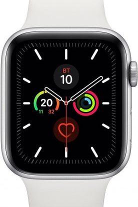 Часы Apple Watch Series 5 40мм серебристого цвета+спортивный ремешок белый