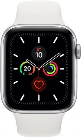Часы Apple Watch Series 5 44мм серебристого цвета+спортивный ремешок белый
