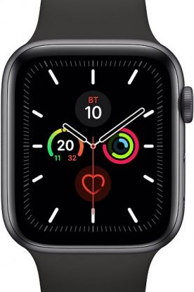 Часы Apple Watch Series 5 44мм серый космос+спортивный ремешок чёрный