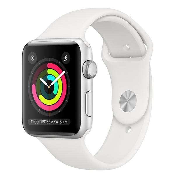 Часы Apple Watch Series 3 42мм серебристого цвета+спортивный ремешок белый