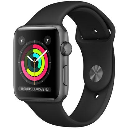 Часы Apple Watch Series 3 42мм серый космос+спортивный ремешок чёрный