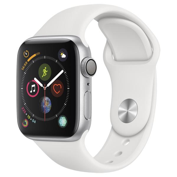 Часы Apple Watch Series 4 44мм серебристого цвета+спортивный ремешок белый