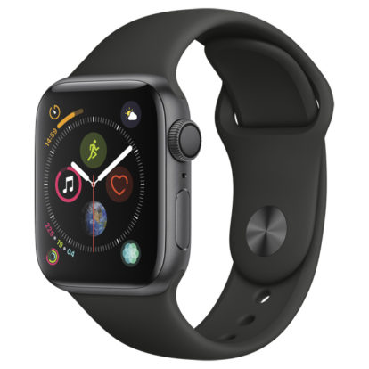 Часы Apple Watch Series 4 44мм серый космос+спортивный ремешок чёрный
