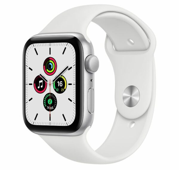 Смарт-часы Apple Watch SE 44mm Silver Aluminum Case with White Sport Band